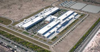 An illustration of the planned $800 million Facebook data center campus in Mesa, Arizona. (Image: Facebook)