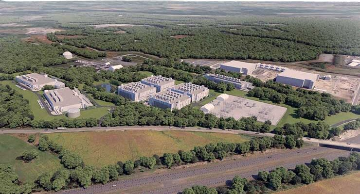 An illustration of the planned 1.5 million square foot TA Realty data center campus planned in Leesburg in Northern Virginia. (Photo: TA Realty)