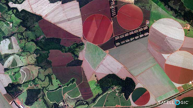 A Satellogic image of farmland in Brazi. Space imagery is becoming a bigger business for cloud players like AWS. (Image: Satellogic)